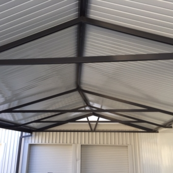 Irregular tapered gable carport.